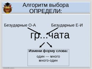 Алгоритм выбора ОПРЕДЕЛИ: гр...чата Измени форму слова: один — много много-од