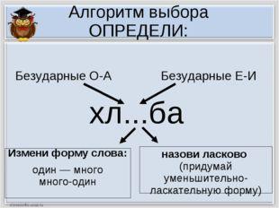 Алгоритм выбора ОПРЕДЕЛИ: хл...ба Измени форму слова: один — много много-один