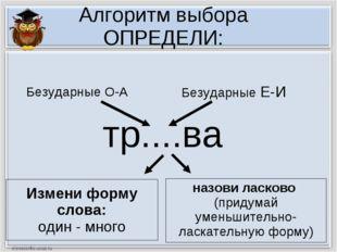 Алгоритм выбора ОПРЕДЕЛИ: тр....ва Измени форму слова: один - много назови ла