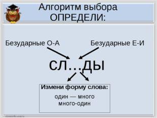 Алгоритм выбора ОПРЕДЕЛИ: сл...ды Измени форму слова: один — много много-один