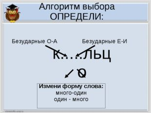 Алгоритм выбора ОПРЕДЕЛИ: к.....льцо Измени форму слова: много-один один - мн