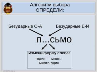 Алгоритм выбора ОПРЕДЕЛИ: п...сьмо Измени форму слова: один — много много-оди