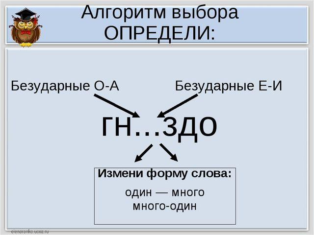 Алгоритм выбора ОПРЕДЕЛИ: гн...здо Измени форму слова: один — много много-оди...