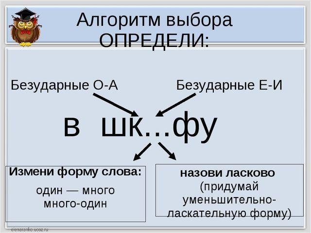 Алгоритм выбора ОПРЕДЕЛИ: в шк...фу Измени форму слова: один — много много-од...