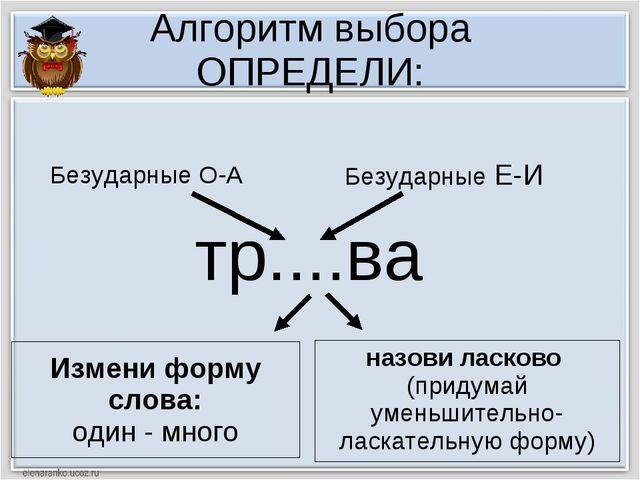 Алгоритм выбора ОПРЕДЕЛИ: тр....ва Измени форму слова: один - много назови ла...