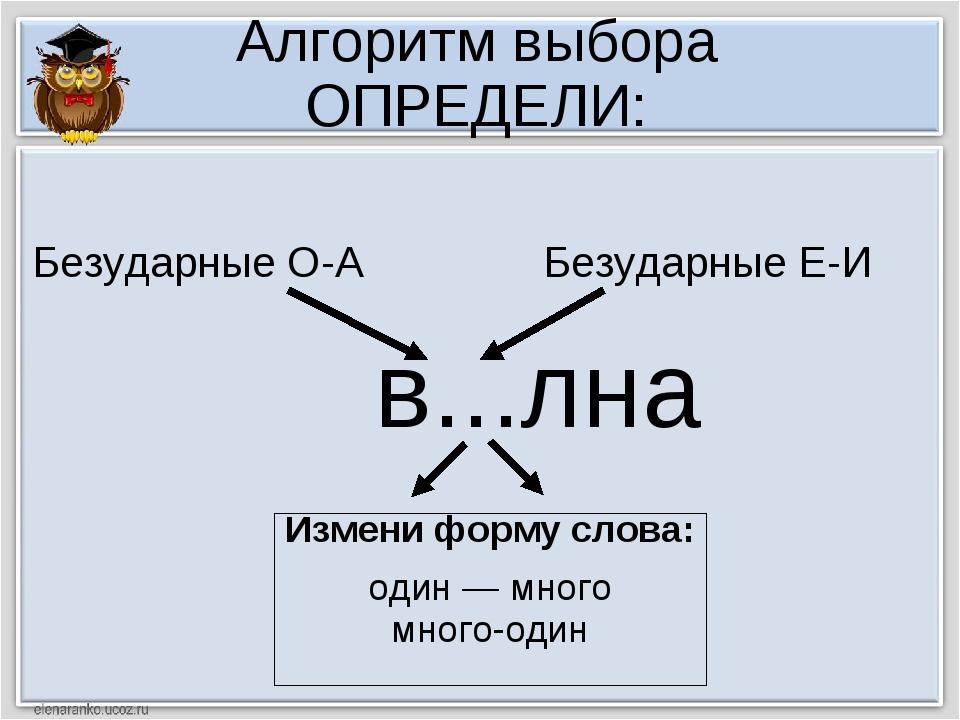 Алгоритм выбора ОПРЕДЕЛИ: в...лна Измени форму слова: один — много много-один...