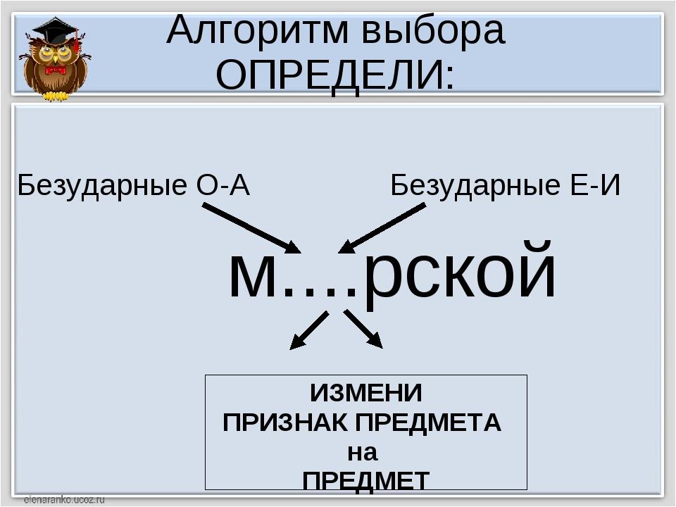 Алгоритм выбора ОПРЕДЕЛИ: м....рской ИЗМЕНИ ПРИЗНАК ПРЕДМЕТА на ПРЕДМЕТ Безуд...