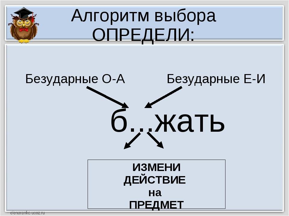Алгоритм выбора ОПРЕДЕЛИ: б...жать ИЗМЕНИ ДЕЙСТВИЕ на ПРЕДМЕТ Безударные О-А...