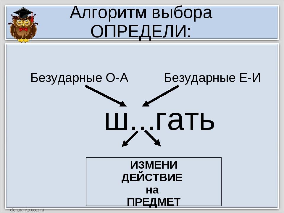 Алгоритм выбора ОПРЕДЕЛИ: ш...гать ИЗМЕНИ ДЕЙСТВИЕ на ПРЕДМЕТ Безударные О-А...