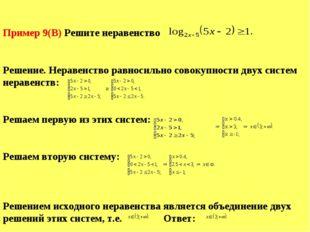 Пример 9(B) Решите неравенство log2x – 5(5x – 2) і1. Решение. Неравенство рав