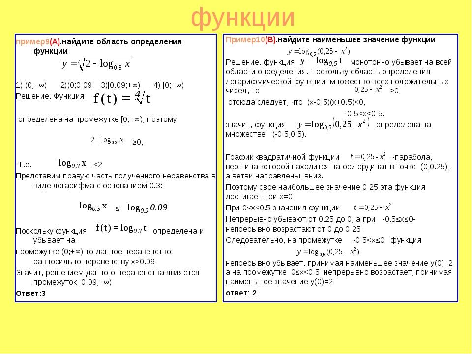 функции пример9(A).найдите область определения функции 1) (0;+∞) 2)(0;0.09] 3...