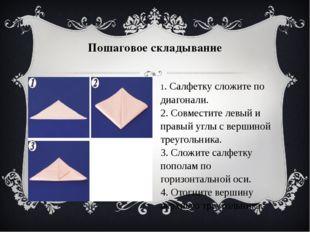 Пошаговое складывание 1. Cалфетку сложите по диагонали. 2. Совместите левый