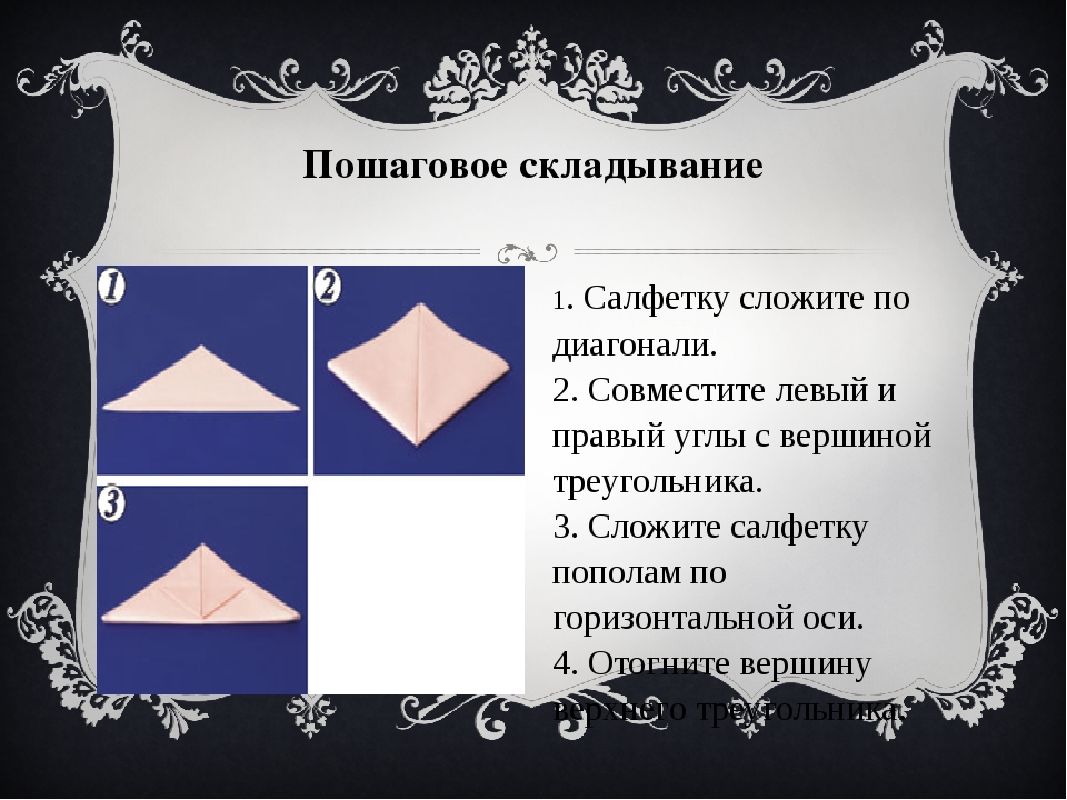 Пошаговое складывание 1. Cалфетку сложите по диагонали. 2. Совместите левый...