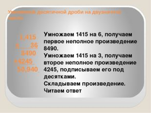 Умножение десятичной дроби на двузначное число 1,415 х 36 8490 +4245 50,940 У
