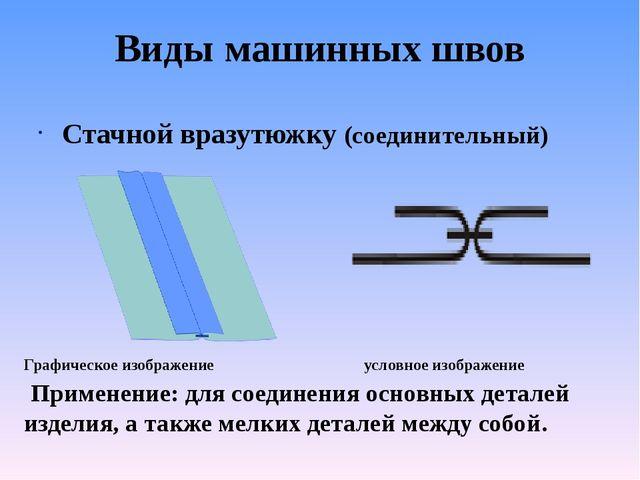 Виды машинных швов Стачной вразутюжку (соединительный)   Применение: для...