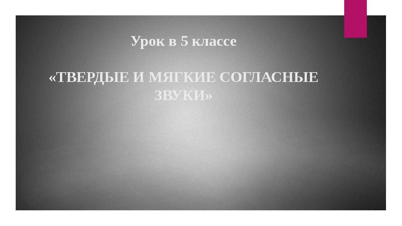 Урок в 5 классе «ТВЕРДЫЕ И МЯГКИЕ СОГЛАСНЫЕ ЗВУКИ»