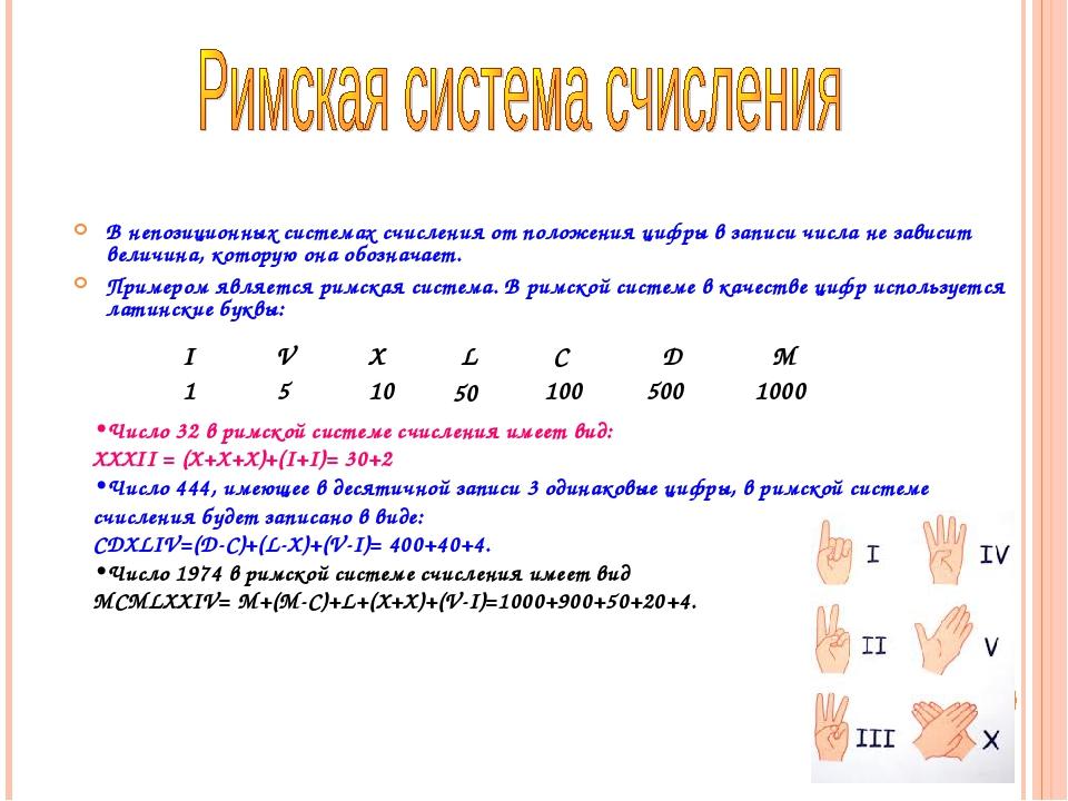 В непозиционных системах счисления от положения цифры в записи числа не завис...