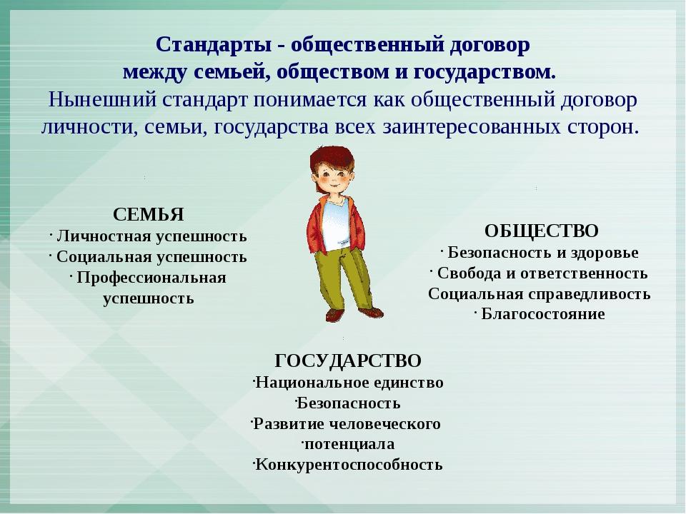 Стандарты - общественный договор между семьей, обществом и государством. Нын...