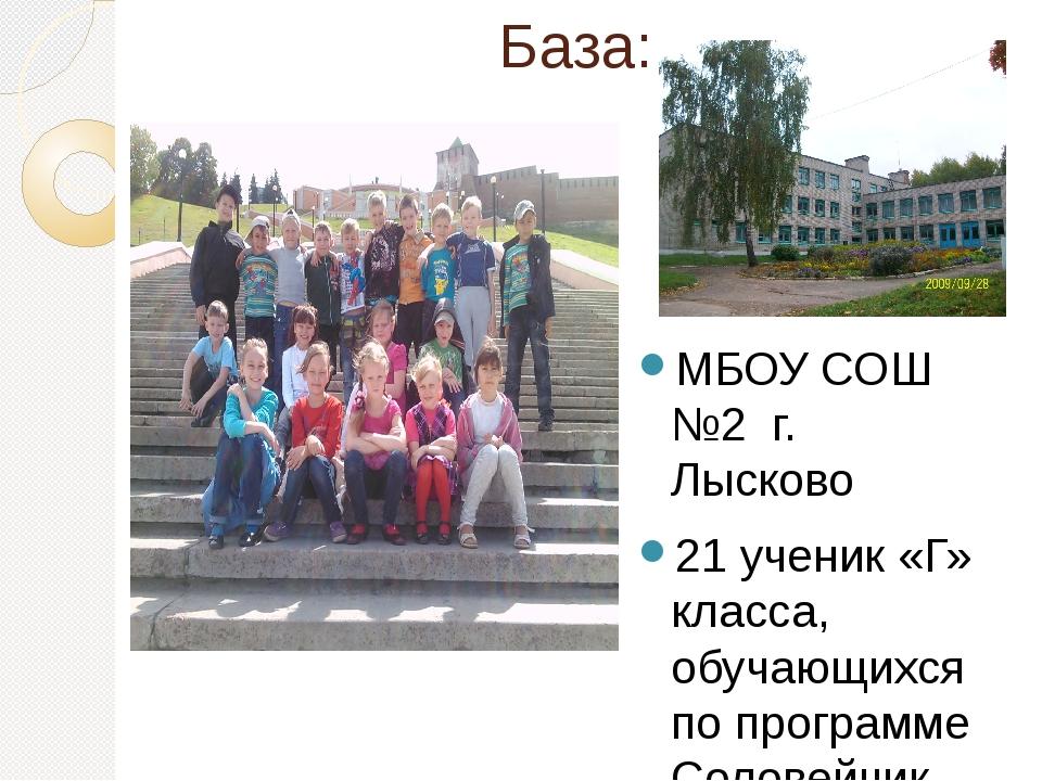 База: МБОУ СОШ №2 г. Лысково 21 ученик «Г» класса, обучающихся по программе С...