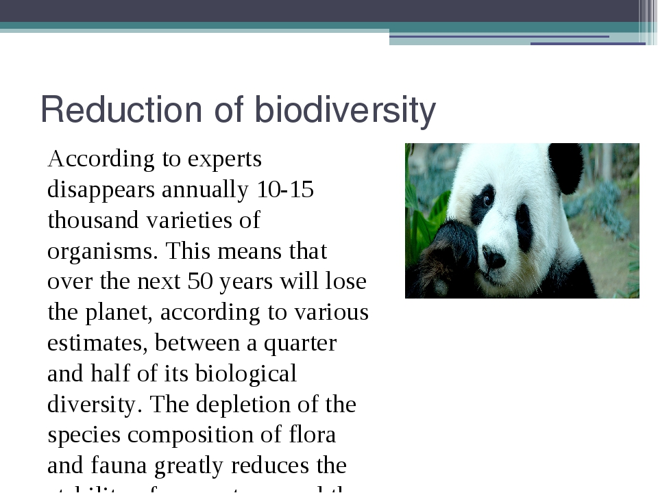 Reduction of biodiversity According to experts disappears annually 10-15 thou...
