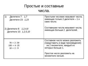Простые и составные числа.