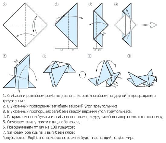 Поделки из бумаги своими руками оригами птицы схема