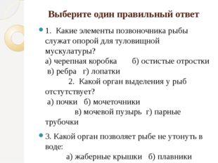 Выберите один правильный ответ 1. Какие элементы позвоночника рыбы служат опо
