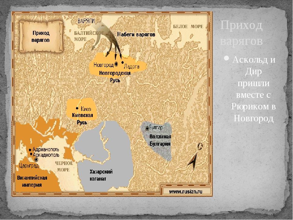 Аскольд и Дир пришли вместе с Рюриком в Новгород Приход варягов