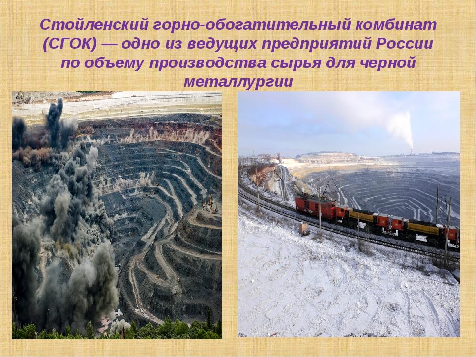 Стойленский горно-обогатительный комбинат (СГОК)— одно изведущих предприяти...
