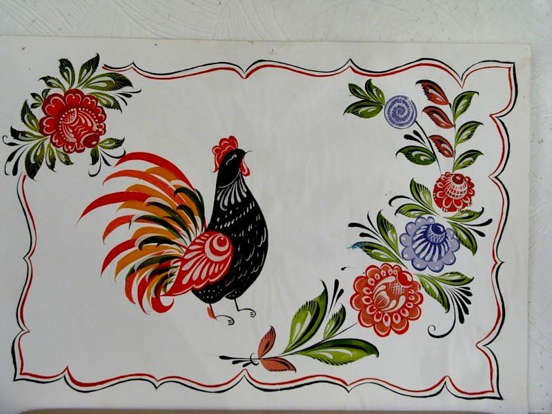 Изображение птиц на росписи