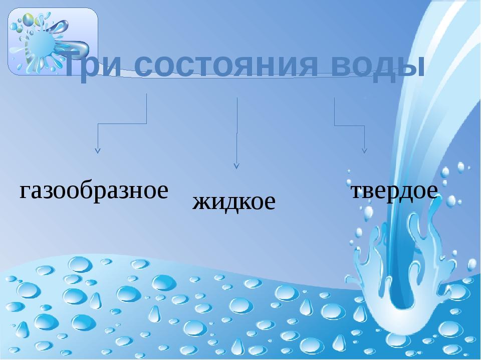 Три состояния воды газообразное жидкое твердое