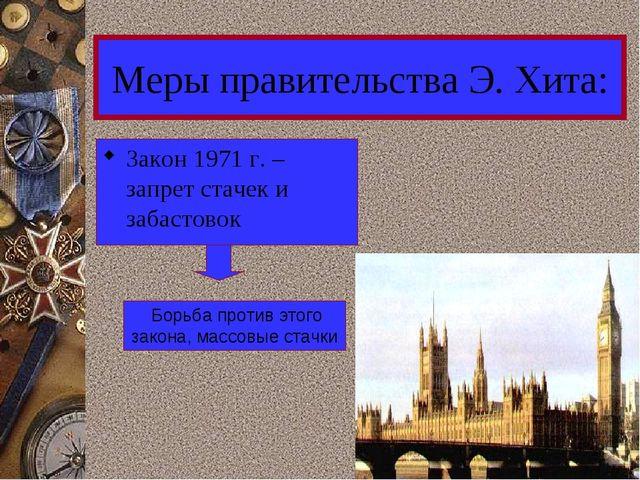 Меры правительства Э. Хита: Закон 1971 г. – запрет стачек и забастовок Борьба...