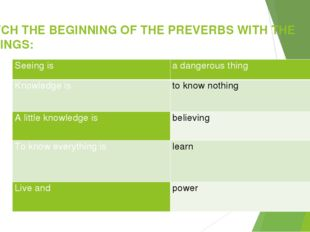 MATCH THE BEGINNING OF THE PREVERBS WITH THE ENDINGS: Seeing is a dangerous t