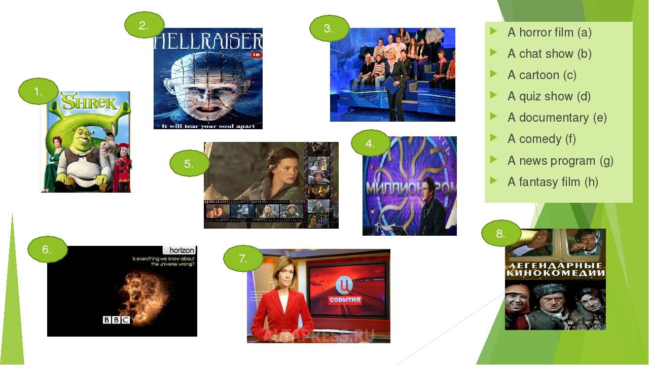 A horror film (a) A chat show (b) A cartoon (c) A quiz show (d) A documentary...