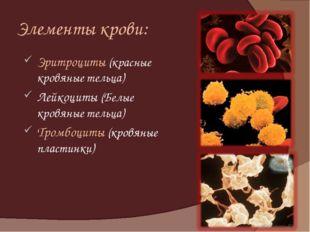 Элементы крови: Эритроциты (красные кровяные тельца) Лейкоциты (Белые кровяны