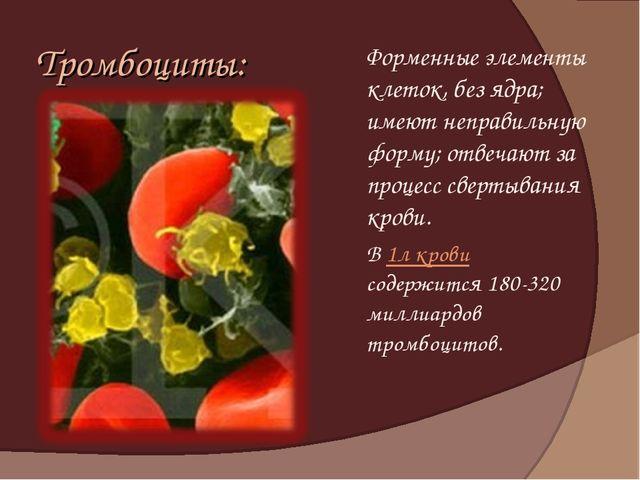 Тромбоциты: Форменные элементы клеток, без ядра; имеют неправильную форму; о...