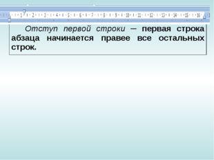 Отступ первой строки─ первая строка абзаца начинается правее все остальных ст