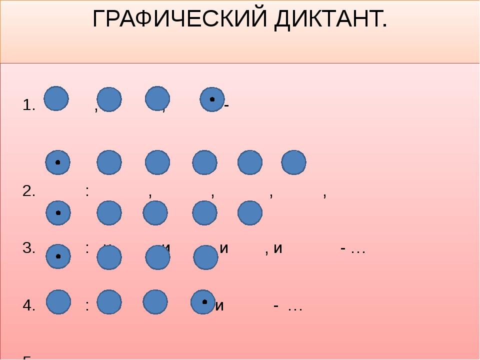 ГРАФИЧЕСКИЙ ДИКТАНТ. 1. , , - 2. : , , , , 3. : и , и , и , и - … 4. : , и -...