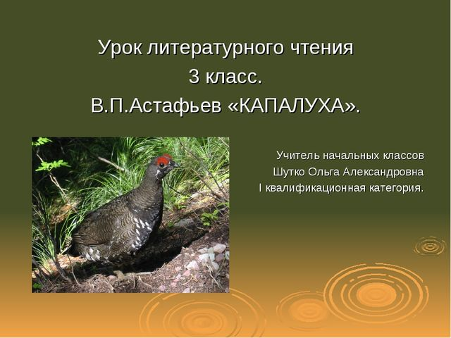 Урок литературного чтения 3 класс. В.П.Астафьев «КАПАЛУХА». Учитель начальных...