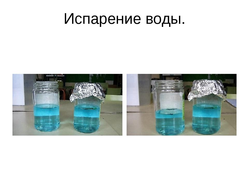 Испарение воды.