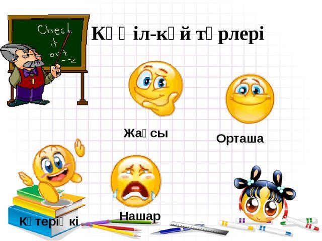 Көңіл-күй түрлері Жақсы Орташа Нашар Көтеріңкі