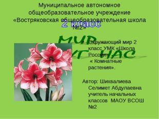 Муниципальное автономное общеобразовательное учреждение «Востряковская общеоб