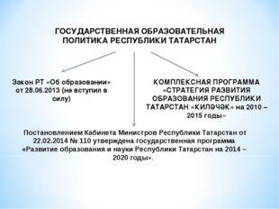 ГОСУДАРСТВЕННАЯ ОБРАЗОВАТЕЛЬНАЯ ПОЛИТИКА РЕСПУБЛИКИ ТАТАРСТАН Закон РТ «Об об