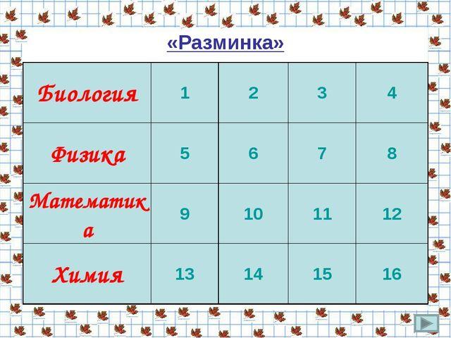 «Разминка» Биология1234 Физика5678 Математика9101112 Химия1314...