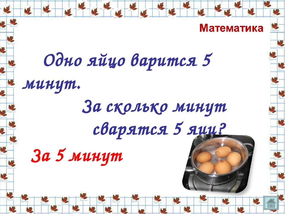 Одно яйцо варится 5 минут. За сколько минут сварятся 5 яиц? За 5 минут