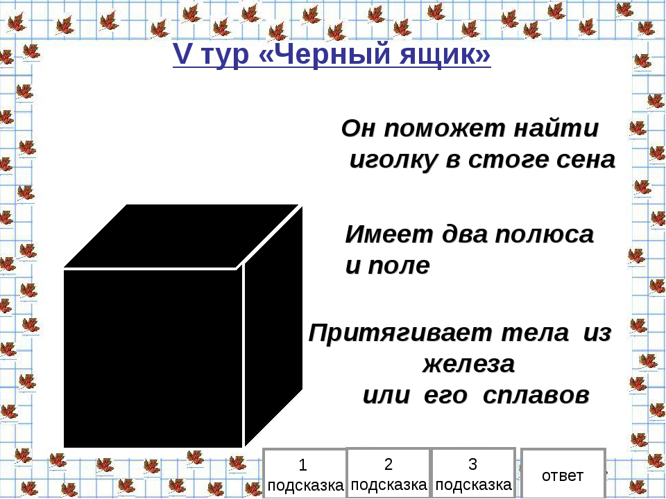 V тур «Черный ящик» 1 подсказка 2 подсказка ответ Он поможет найти иголку в с...