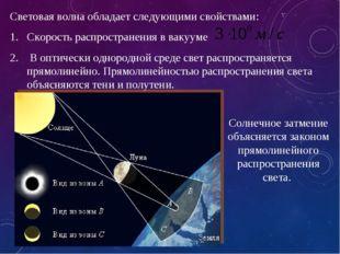 Световая волна обладает следующими свойствами: Скорость распространения в вак