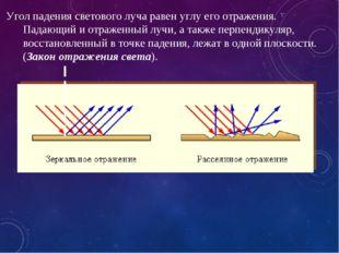 Угол падения светового луча равен углу его отражения. Падающий и отраженный л