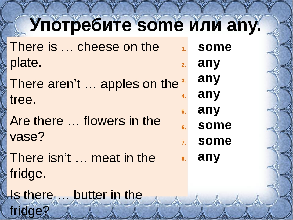 Употребите some или any. There is … cheese on the plate. There aren't … apple...