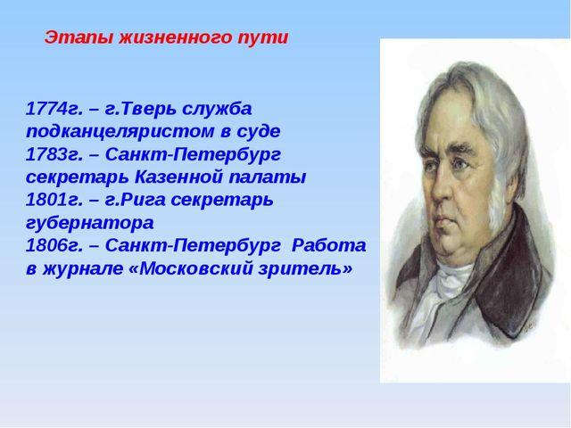 Этапы жизненного пути 1774г. – г.Тверь служба подканцеляристом в суде 1783г....